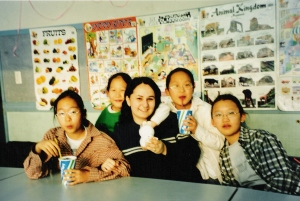 with students in Korea
