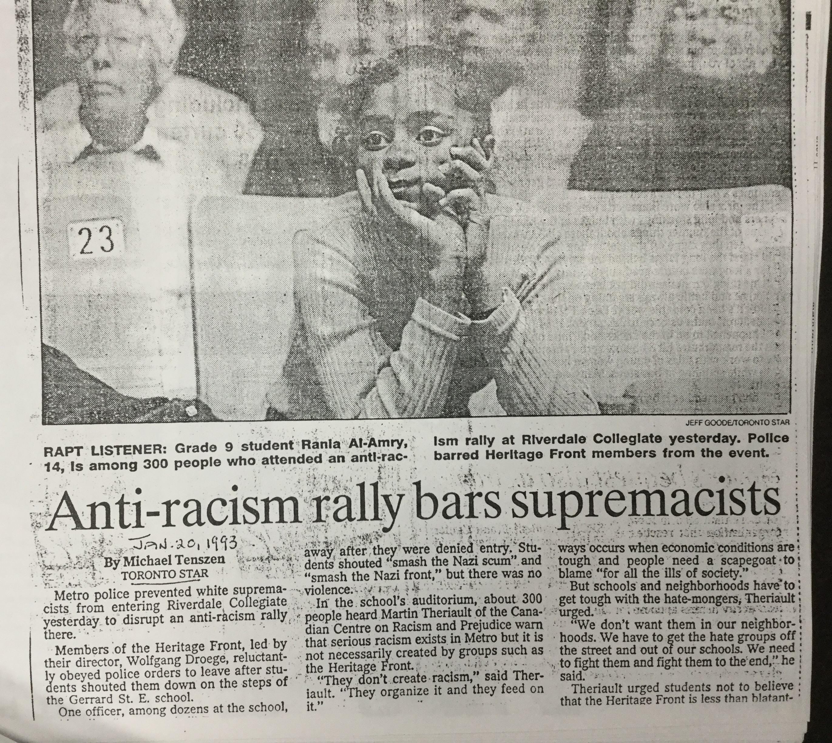 Riverdale collegiate anti-racism rally 1993