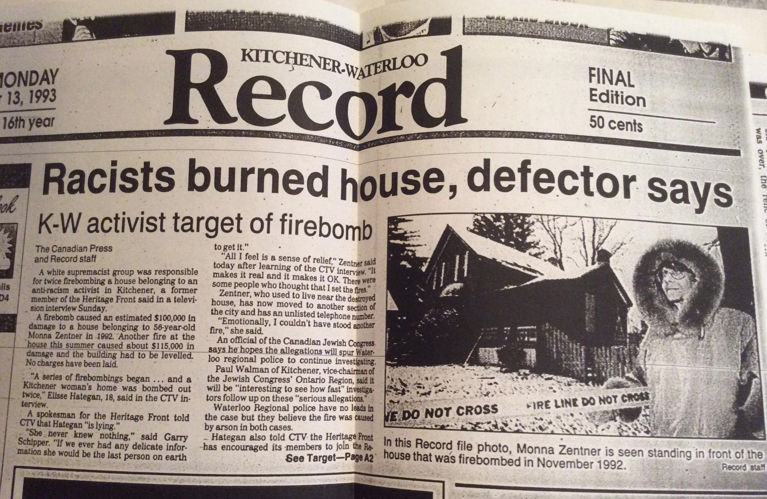 Kitchener Mona Zentner house firebombing